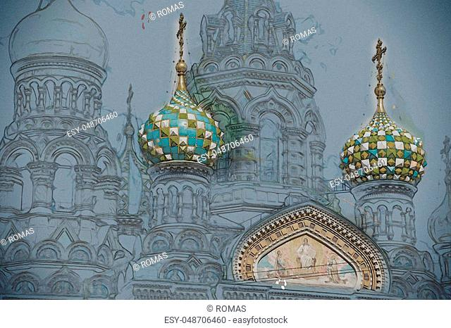 Church of the Savior on Blood in Saint-Petersburg, Russia. One of the main touristic attractions in the city. Vintage painting, background illustration