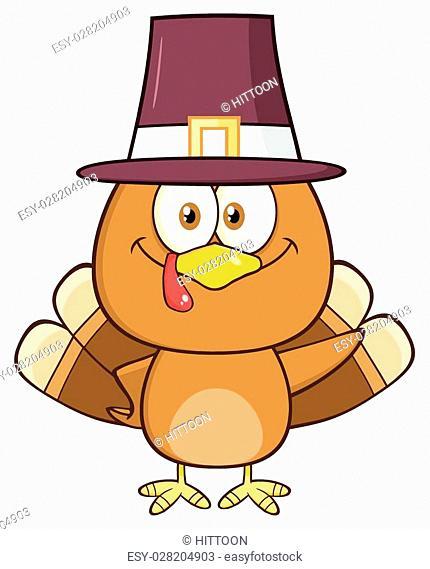 Cute Pilgrim Turkey Bird Cartoon Character Waving