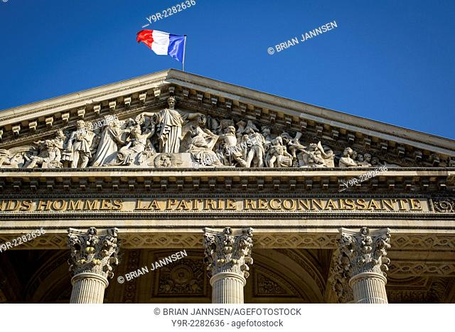Detail on the front facade of the Pantheon, Paris, France