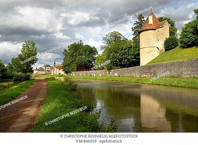 The canal du Nivernais and castle of Chatillon-en-Bazois, Nievre, France