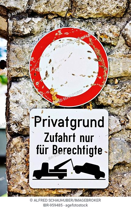 Stop sign, private property, authorized access only