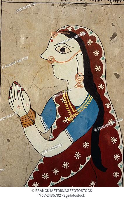 Maithili painting depicting a woman ( Janakpur, Nepal)
