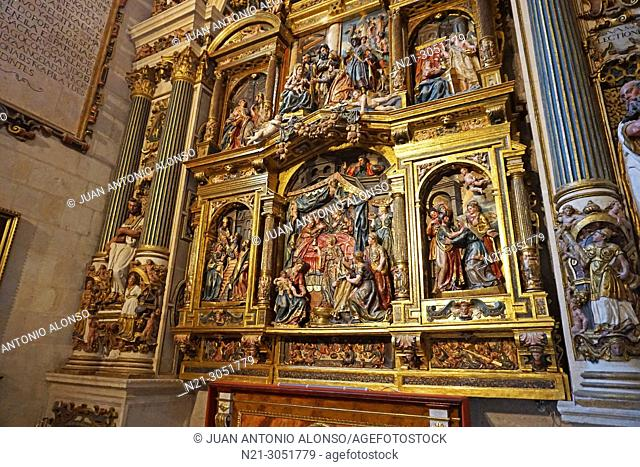 San Nicolas Chapel detail of the reredos. Santa Iglesia Catedral Basílica .Metropolitana de Santa María. Burgos, Castilla y León, Spain