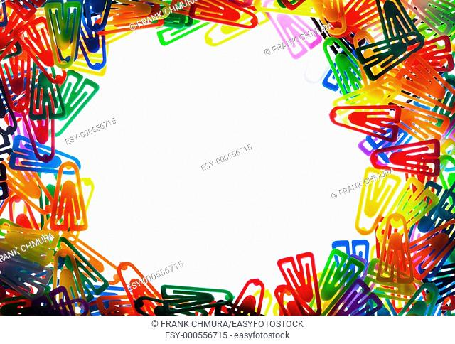 stationery - closeup of colorful plastic clips with copy space