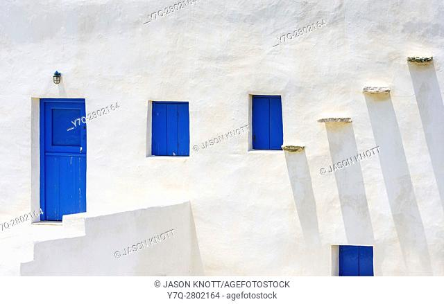 Detail of white washed house on Sifnos Island, Cyclades, Greece