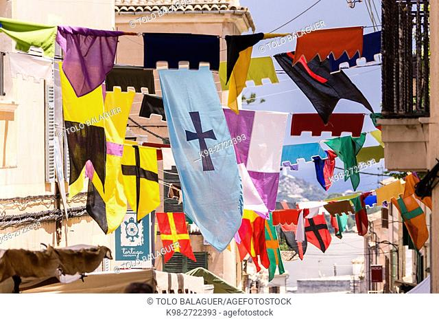 banners on the street, Capdepera Medieval Fair, Mercat Medieval, Capdepera, Majorca, Balearic Islands, Spain