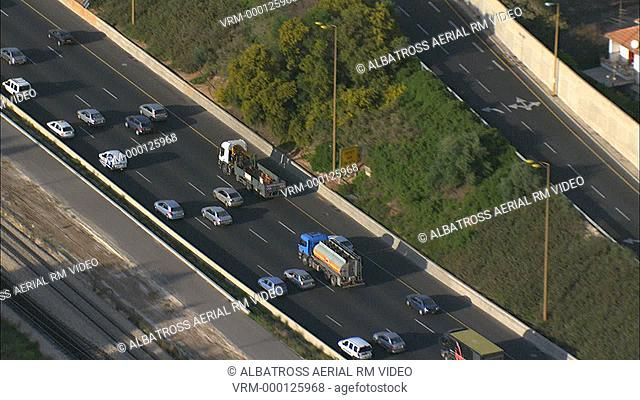 Aerial footage of Ayalon Highway