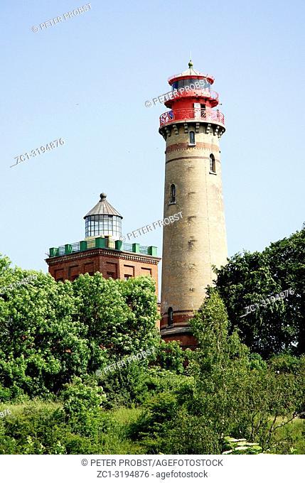 Lighthouse of Cape Arkona on the Island of Ruegen on the German Baltic coast - Germany