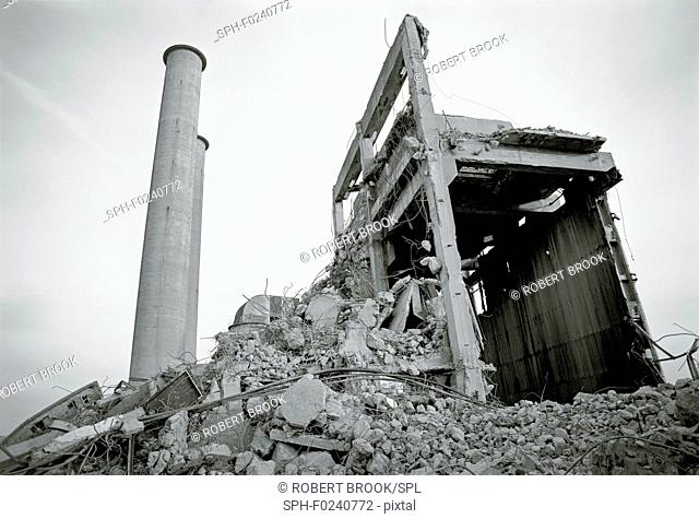 Demolition of power station, Merseyside, UK