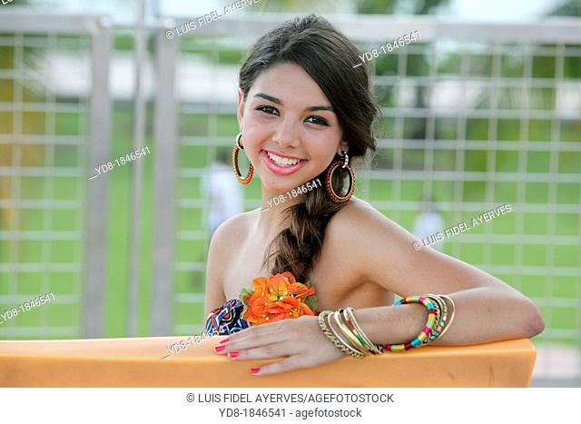 Young woman looking at the camera smailing, Miami Beach, Florida, USA