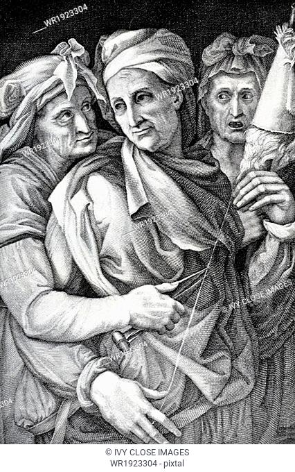 According to Greek, and later Roman mythology, the three fates determined the life span, represented by a thread, of each individual