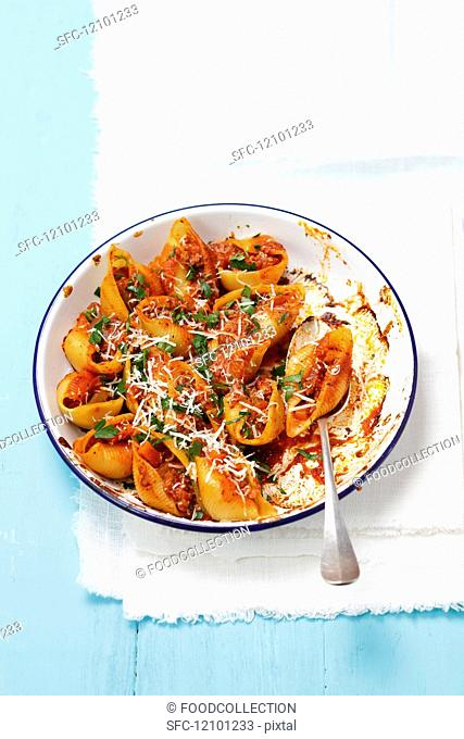Conchiglie with bolognese sauce