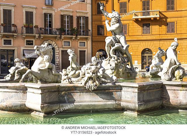 Fountain of Neptune, Piazza Navona, Rome, Lazio, Italy