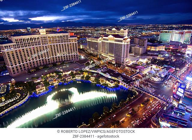 The view from atop the Paris Tower replica at the Las Vegas Boulevard, with the water show, Nevada, USA, the last day of 2014