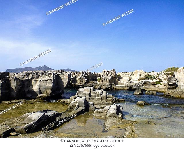 The rocky landscape of Favignana, Sicily, Italy, Europe