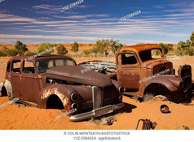Rusted car & truck wrecks, Old Andado Station, Simpson desert, Northern Territory, Central Australia