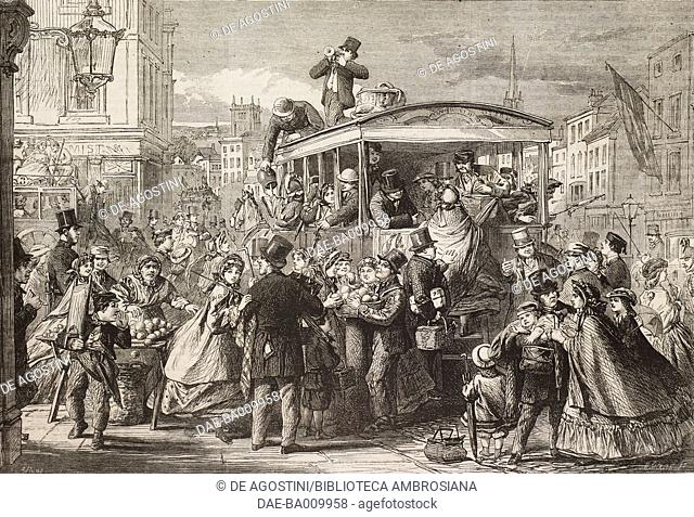 Easter Monday, the excursion-van, drawing by A Hunt, illustration from the magazine The Illustrated London News, volume XL, April 19, 1862
