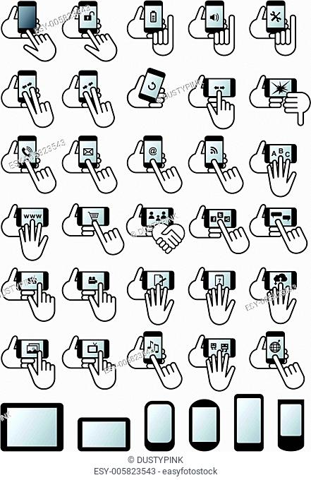 smartphones with hands, vector icon set