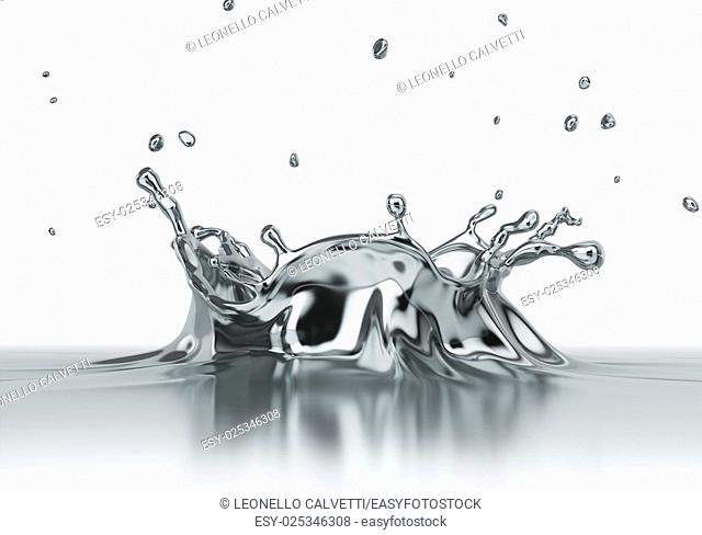 Liquid silver chrome spash close up. Side view on white background. Clipping path included