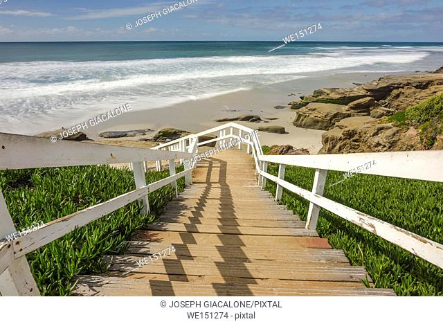 View of the stairs leading down to Windansea Beach on a winter afternoon. La Jolla, California, USA