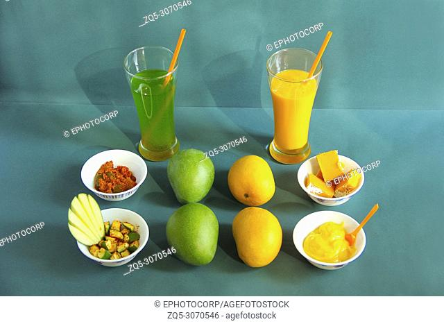 Raw and ripe alphonso mango and their by-products like pickle, mango shake, sweet and ice cream