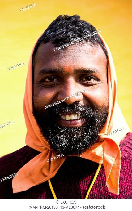 Portrait of a sadhu in Kumbha Mela, Allahabad, Uttar Pradesh, India