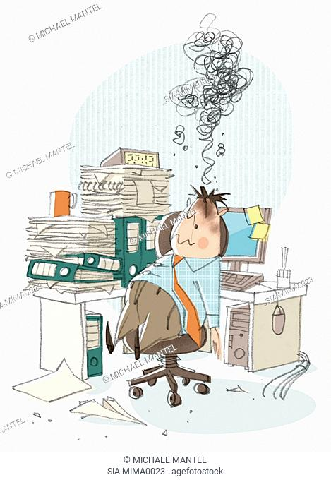 Office worker tired in office