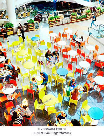 KYIV, UKRAINE - SEPT 22, 2015: People at Ocean Plaza shopping mall in Kyiv. Ocean Plaza is the second largest shopping mall and entertainment complex of Kyiv