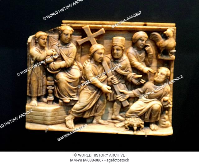 Ivory casket panels depicting events around the death of Christ. Dated 5th Century