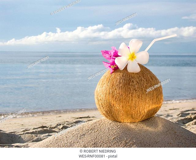 Asia, Thailand, Koh Samui, Cocktail in coconut cup on sandy beach