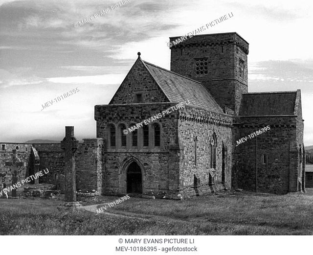 Iona Cathedral, on the island of Iona, off the south west coast of Mull, Scotland, was founded in 563, by St. Columba, who landed here from Ireland
