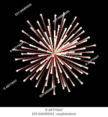 Fireworks. New Year celebration. Festive night decoration, design element. Vector isolated illustrations on black background