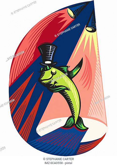 A fish wearing a top hat and performing on stage