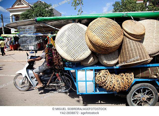 Wicker Baskets on Cart on National Road Six in Siem Reap, Cambodia
