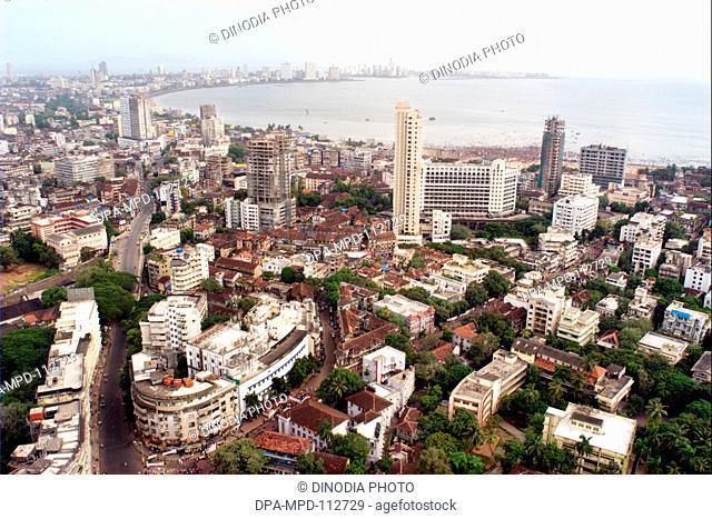 An aerial view of Girgaon chowpatty and Marin Drive ; Bombay Mumbai ; Maharashtra ; India