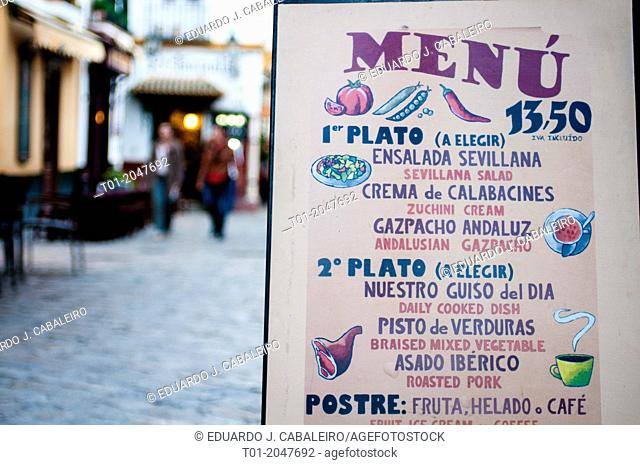 typical food menu. Seville