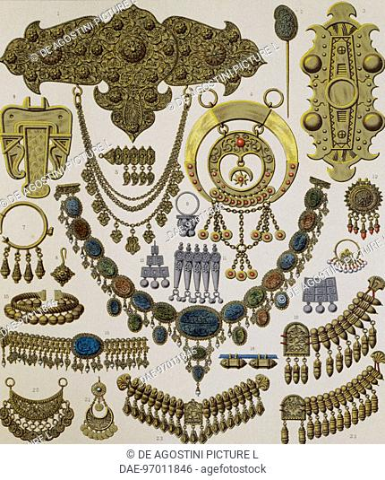 Asian jewellery, lithography by Spiegel published in Le costume historique, Volume I, 1888, by Auguste Racinet
