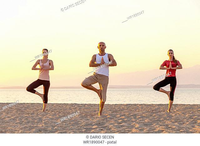 People practising yoga on beach, tree pose