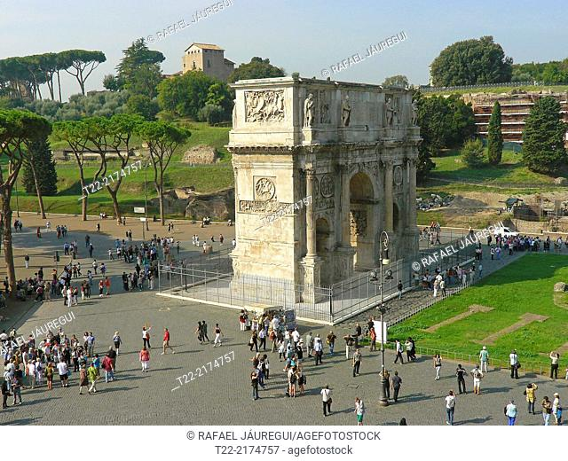 Rome (Italy).Arco di Costantino View from the Colosseum in Rome