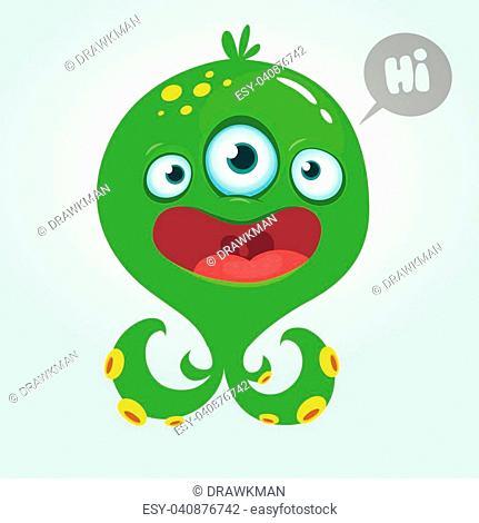 Cute alien monster cartoon. Halloween vector illustration isolated