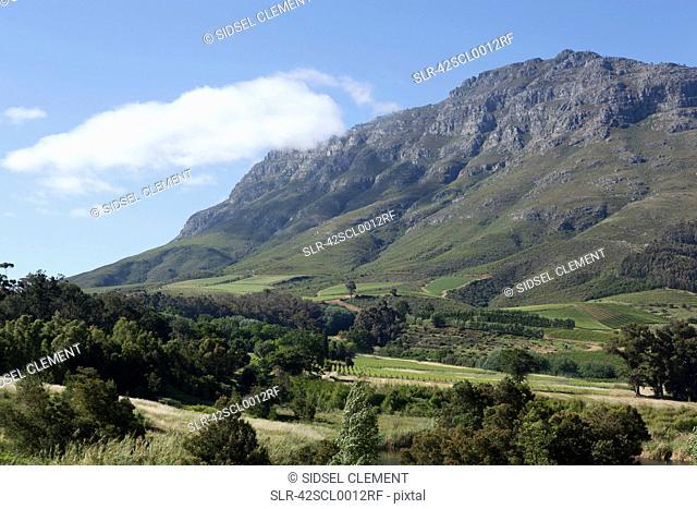Rocky hills overlooking rural landscape