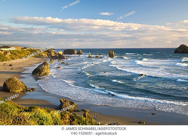 Bandon Beach with seastacks on the Pacific Ocean coast of Bandon Oregon