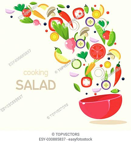 Cooking Salad. Vector Illustration Infographics. Healthy eating vector illustration with a bowl of salad