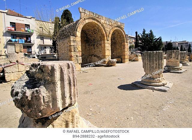 Ruins of Roman Forum. Tarragona. Catalonia. Spain