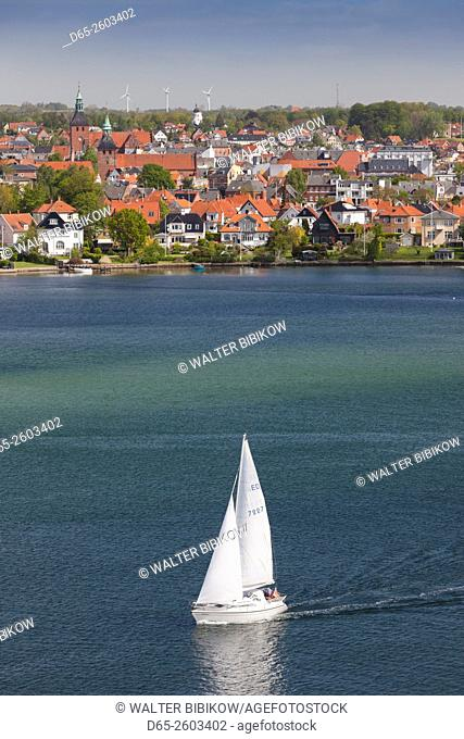 Denmark, Funen, Svendborg, elevated town view with sailboat