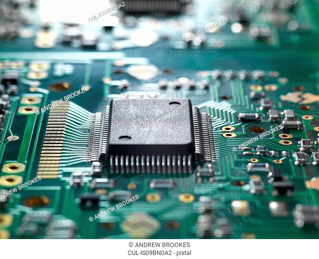 Electronic chip and components on a circuit board