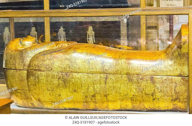 Egypt, Cairo, Egyptian Museum, from the tomb of Yuya and Thuya in Luxor : Mummy-shaped (second) coffin of Thuya