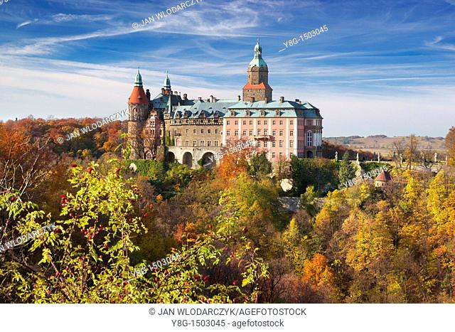 Ksiaz castle, Sudeten Mountains, Silesia Region, Poland, Europe