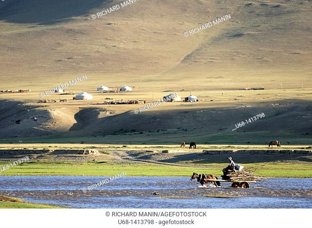 Mongolia, Ovorkhangai district, Orkhon valley, Orkhon river