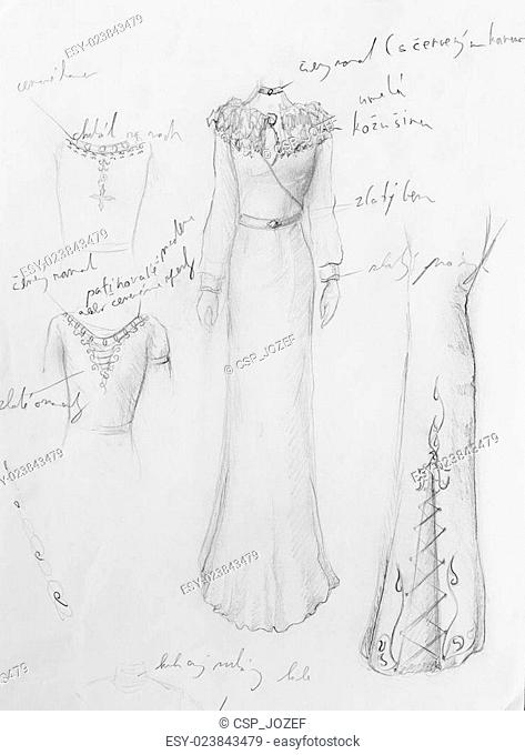 drawing of woman medieval historic dress on paper, designer sketch, and ornamental pattern